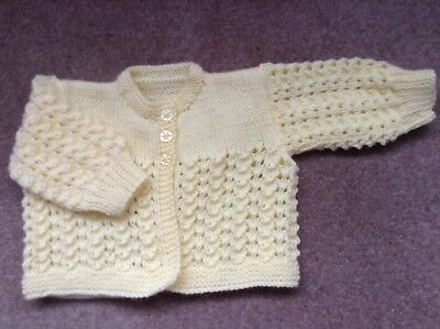 New Hand Knitted Lemon Baby Cardigan 0-3 Months