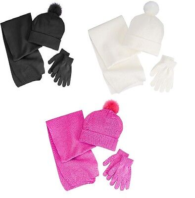 Berkshire Girls 3 Piece Solid Scarf Hat Gloves Set Faux-fur Acrylic One  size NEW 1acc11ef6c28
