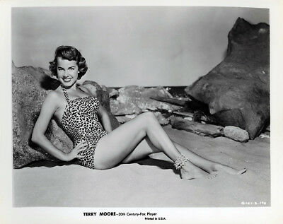 Pin-Up Bathing Beauty Terry Moore in Leopard Print Suit 1950s Vintage Photograph