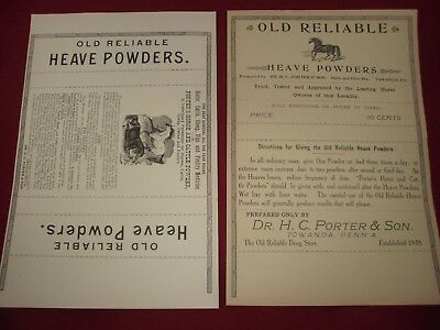 2 Different Old Reliable Heave Powder Labels Horse Veterinary Medicine