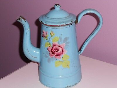 Antique Vintage French Enamel Enameled Enamelware Pink Blue Floral Coffee  Pot