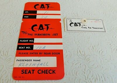 Rare! 1965 Vintage Cathay Pacific Full Boarding Card & Luggage Tag