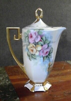 Hand Painted Porcelain Chocolate pot w/ pink & yellow roses & gold trim