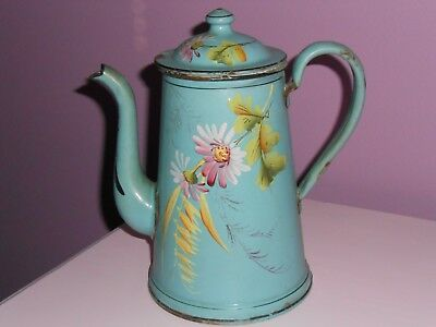Antique Vintage French Enamel Enameled Enamelware Blue Pink Floral Coffee  Pot