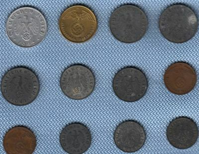 1938 - 1943 Reichspfennig Germany Lot 12 Nazi Money Coins Swastika 3rd Reich WW2
