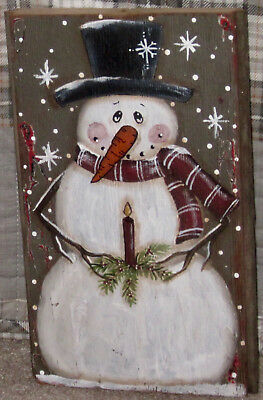 *~*primitive*~* Hp Folk Art Prim Snowman *~* Candle *~* Old Reclaimed Wood