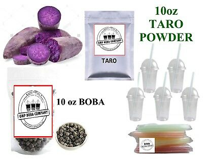 Taro / Ube  Boba Bubble Tea Kit DIY Drinks cups Lids straws Free Shipping NEW