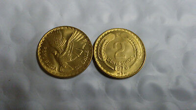 Chile 2 Centisimos 1970 Eagle, Uncirculated, Free Shipping