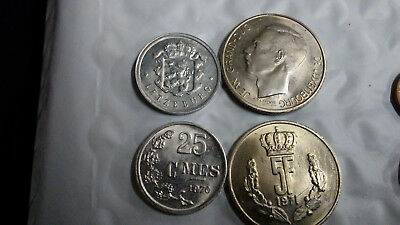 Luxembourg Uncirculated Coin Pair (25C & 5 Francs), Free Shipping