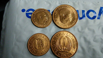 Sierra Leone Uncirculated 1964 Coin Pair 1/2 & 1 Penny , Free Shipping