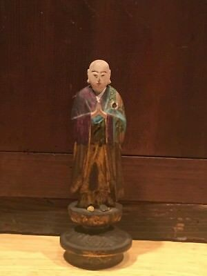 Beautiful Rare Carved Wooden Japanese Monk Statue