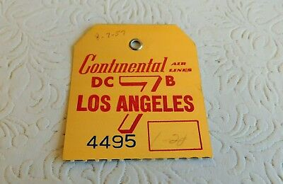 Rare! 1957 Vintage Continental Airlines Baggage Tag Dc-7B Los Angeles !