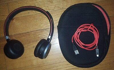 Jabra Evolve 65 Stereo Wireless Bluetooth Headset with charger and case
