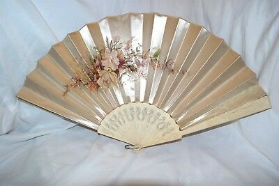 """Antique Japanese Hand Carved Silk Floral Painted Scene 13"""" Fan"""