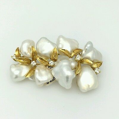 Pearl and Diamond Pin/Brooch in 18k Yellow Gold - HM1631E
