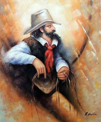 Cowboy Portrait Western Art Rider Hat Rawhide Ranch Stretched 20X24 Oil Painting