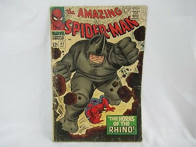 The Amazing Spider Man Comic Number 41 1st Rhino Marvel Silver Age RARE