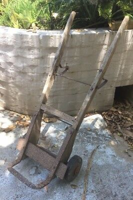 Antique / Vintage Large Trolley - KENWORTH Solid Rubber Wheels - Metal & Wood
