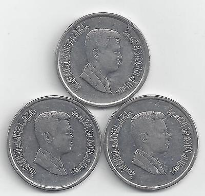 3 DIFFERENT 10 PIASTRE COINS from JORDAN (2000, 2004 & 2009)