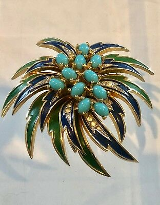 Stunning Vintage Signed Jomaz Starburst Brooch/Pin-Estate Collection
