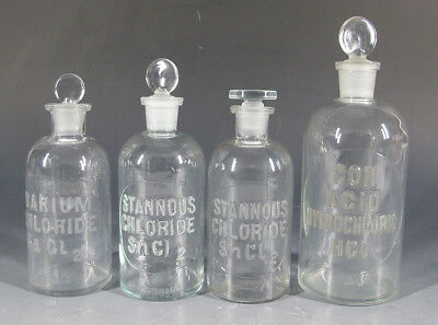 4 Antique Early 1900s Embossed Apothecary Pharmacy Chemical Glass Bottles #4 yqz