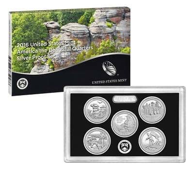 2016 US Mint America the Beautiful Silver Proof Quarter Set 25c Coins