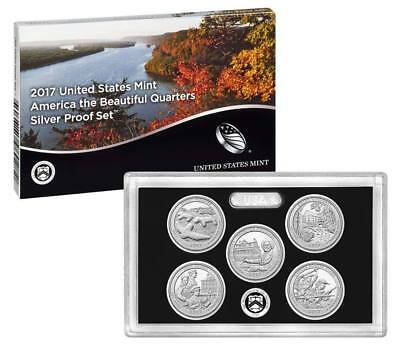 2017 US Mint America the Beautiful Silver Proof Quarter Set 25c Coins