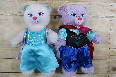 Build a Bear lot Disney Princess Frozen Anna and Elsa dressed Plush Bears