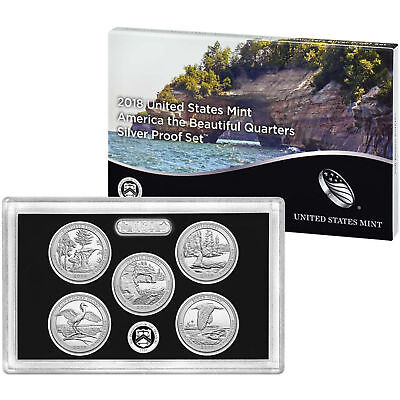 2018 US Mint America the Beautiful Silver Proof Quarter Set 25c Coins