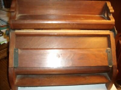 VINTAGE ANTIQUE oak WOOD LAP TOP WRITING DESK PORTABLE SMALL Pat May 13,1873