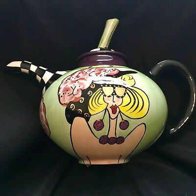 Tea Pot Aunt Gertie Swak Lynda Corneille Green Gold Black White Medium Sized
