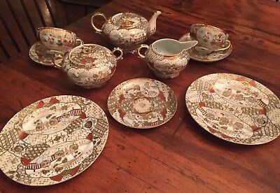 Antique Japanese Tea Set Satsuma Style Porcelain with Raised Gold Encrusted