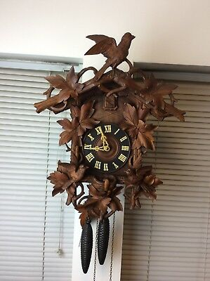 antique German black forest birds & nest cuckoo clock original running