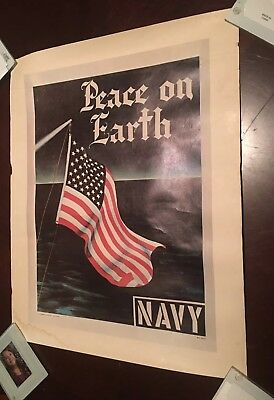"""Vintage Original 1967 US Navy Recruiting Poster """"Peace on Earth"""" American Flag"""