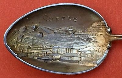 Quebec Canada City Skyline Sterling Silver & Enamel Souvenir Spoon