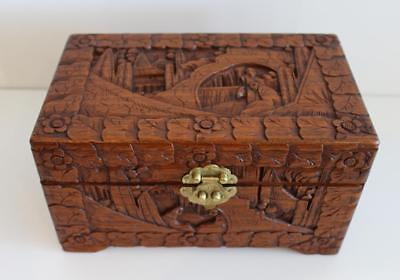 Antique Vintage Asian Hand Carved Box Luck Wooden Chest China Export Hong Kong