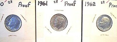 1960, 1961, 1962 10C (Proof) Roosevelt Dimes,  3 attractive Silver Proofs