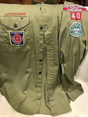 Vtg 1970s Boy Scouts BSA Uniform Shirt Olive Patches Scoutmaster Size 16
