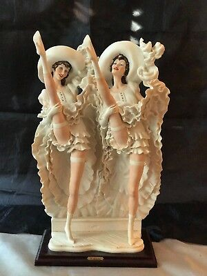 "~19"" G. Armani Florence Italy Stone Composite 1988 Pair of Lady Can-Can Dancers"