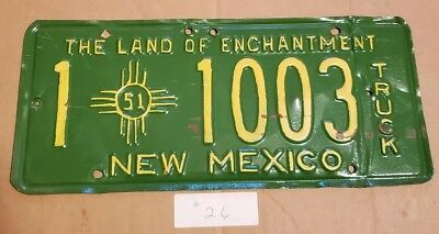 Vintage 1951 New Mexico Truck License Plate Land of Enchantment