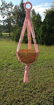 "29"" Pretty Pink and Beige Beaded Macrame Plant Hanger"
