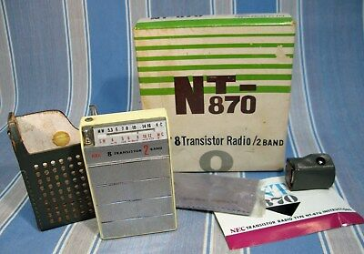 Rare Boxed 1960 Nec Nt-870 Transistor Radio ~Shirtpocket Shortwave & Accessories
