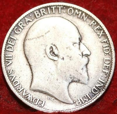 1908 Great Britain 6 Pence Silver Foreign Coin