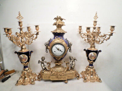 """Vintage Ornate Rococo 2 Cherub Statue & Clock Set 22""""--With Two 5 Candle Holders"""