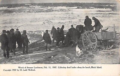 1907 Collecting Dead Bodies Steamer Larchmont Wreck Block Island RI post card