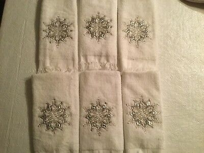 6 Christmas Guest Hand Towels Silver Gray Snowflakes Winter Holiday NWOT Cotton