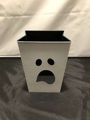Halloween Decor Rectangular Metal Pail Treats Bin White Ghost Face Brand New