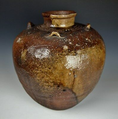 1700s ANTIQUE JAPANESE TEA JAR SHIGARAKI CHATSUBO Edo Pottery Chado Tea Ceremony