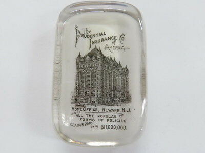 Antique Prudential Insurance Co of America Advertising Glass Paperweight Newark