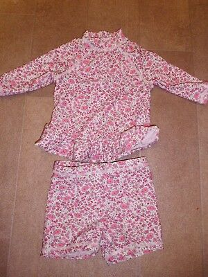 Baby Girls Floral 2 Piece Swimsuit By Mothercare Size 6-9 Months